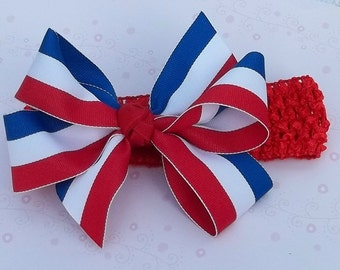 Red White and Blue Stripe Hair Bow