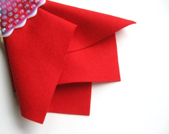 Red Wool Felt, Choose Size, Wool Felt Sheet, Large Felt Square, Pure Merino Wool, Sewing Fabric, Waldorf Crafts, DIY Craft Supply