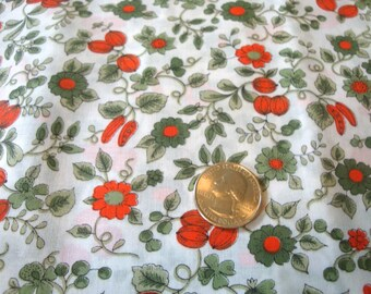 Vintage 1960s Tiny Floral Cotton Print Botanical Fabric for Dresses, Shirts, Quilting