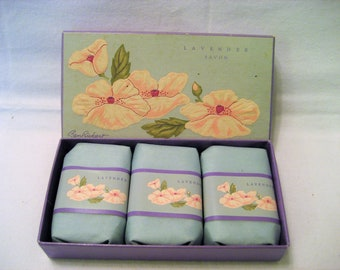 Ben Rickert Lavender Scented Soap Vintage 1980s 3 Bar Boxed Set, New and Unused