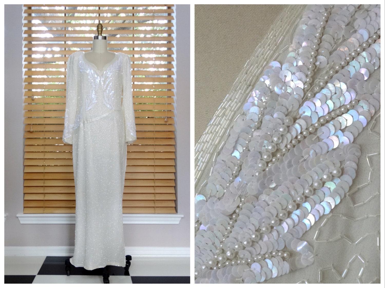 SCHILLERNDES Perlmutt weiß Perlen Pailletten-Kleid / /