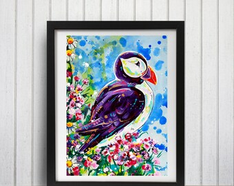 Puffin Art Print, Puffin decor, Puffin gift idea, Puffin wall art, Puffin and flowers, Nautical decor