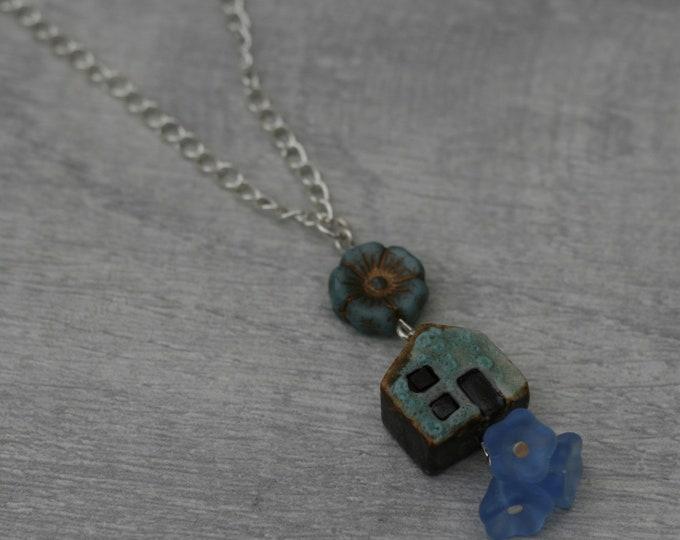 Blue House Necklace