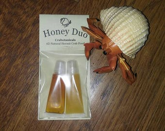 Honey Duo 15ml hermit crab food supplement by Crabotanicals raw unfiltered wildflower and raspflower blossom honey pet food