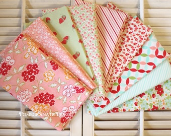 Bonnie and Camille... Hello Darling and Little Ruby .. Aqua, Coral, and Green colorway ... Moda fabrics.. 9 Fat Quarters..