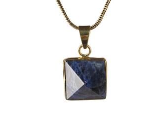 Lapis Lazuli Crystal Point Brass Necklace  Pendant Unisex  Gift Box + Gift Bag Free UK Shipping BG1