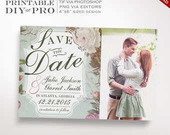 Save the Date Wedding Template - Vintage Rose Wedding Photo Save the Date - Printable DIY French Country Wedding Editable Custom Photograph