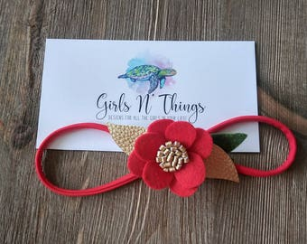 Red and gold Christmas headband. Wool felt flower.