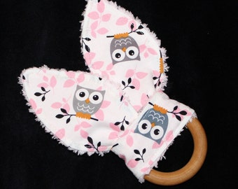 Pink and Gray Owls Rabbit Ears Wooden Teething Ring
