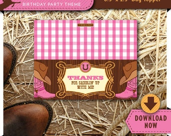 Cowgirl Treat Bag Topper | Printable Candy Bag Toppers | Labels for Birthday Party Favor Bags | Instant Download