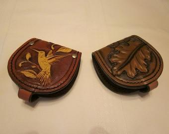 Minimal Front Pocket Wallet, Carved Oak Leaf and Acorn Design, Tooled Basket Weave Pattern