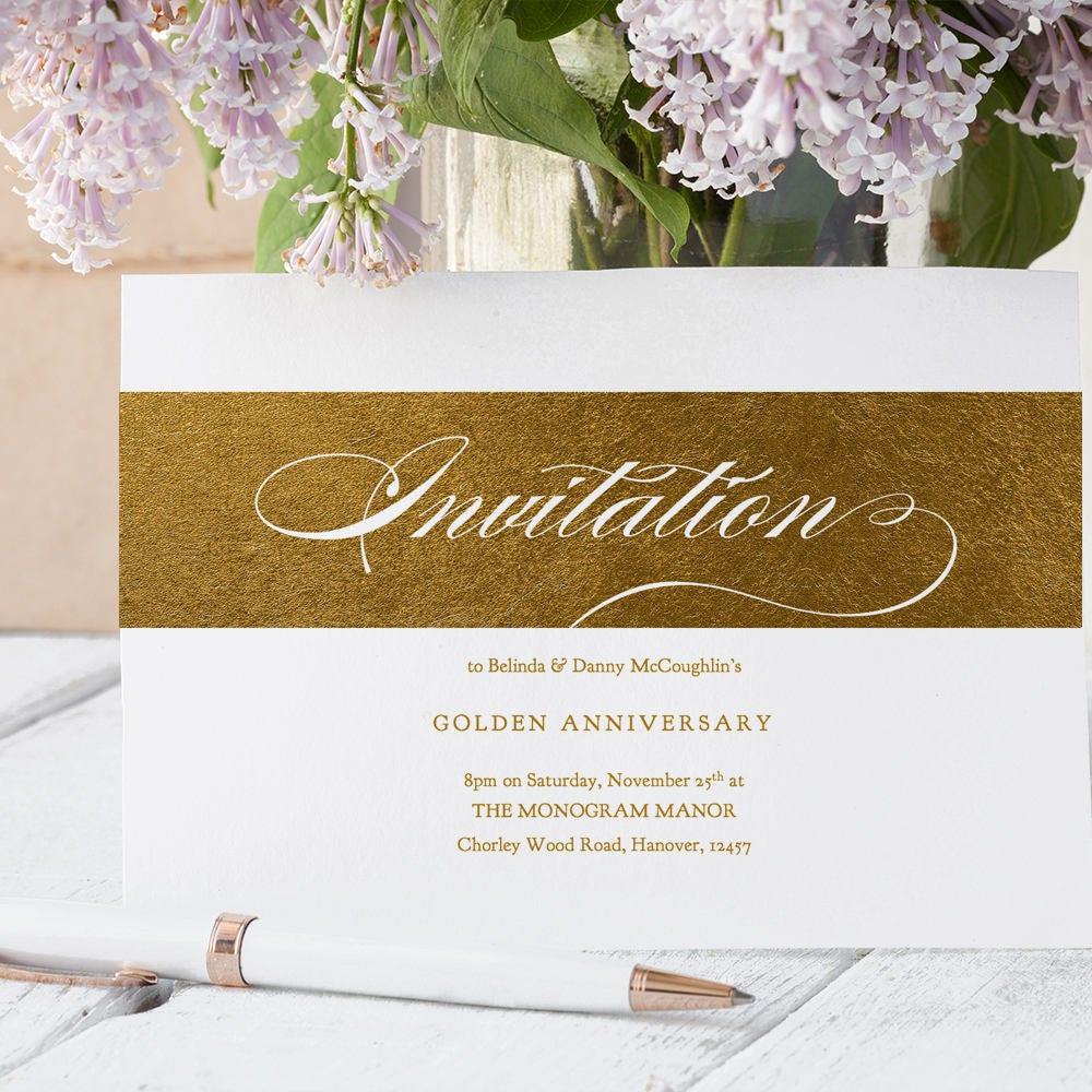 Gold Party Invitation Wedding Anniversary Printable