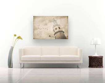 Lighthouse Decor, Nautical Decor, Large Wall Art Print, Wisconsin, Lighthouse Art, Kimberly point Lighthouse, Neenah WI, In the clouds