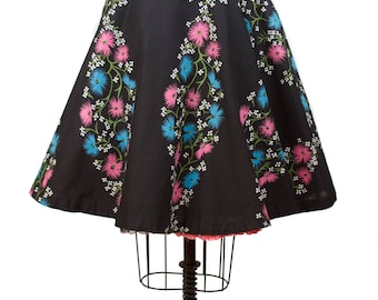 1950s Circle Skirt // Pink and Blue Floral on Black Cotton Circle Skirt
