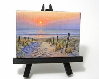 2.5x3.5 Ocean Sunrise Mini Painting by J. Mandrick