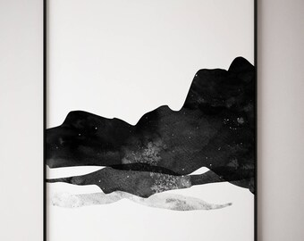 Abstract Wall Art, Abstract Art Print, Modern Abstract Art, Scandinavian Print, Gift For Her, Black & White Art