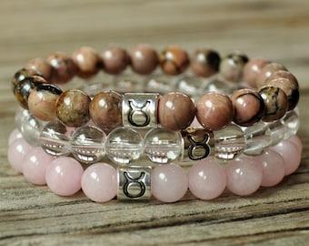Taurus Energy Bracelet, Taurus Zodiac Bracelet, Rhodonite Bracelet,  Rose Quartz Bracelet, Clear Quartz, Yoga Bracelet, Meditation Bracelet