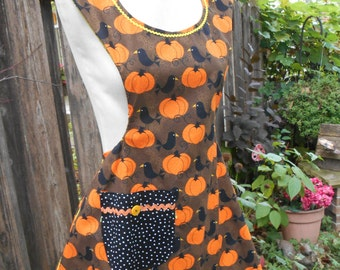 Womens Fall Apron Pumpkins Crows Black and White Polka Dot Over the Head, the Polly