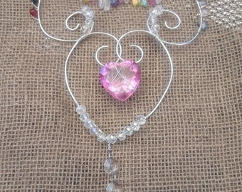 Pink Heart and Prism Window Sun Catcher