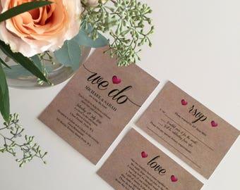 Wedding Invitation   Printable Wedding Invitation Set   Wedding Invite   Printable Wedding Invite   'We Do Heart' Design
