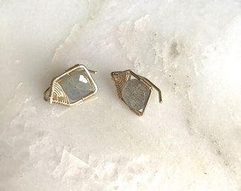 Geometric large pull through stud earrings