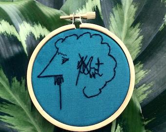 Kurt Vonnegut signature embroidery cross stitch wall hanging literature