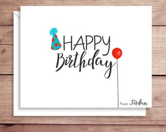 Happy Birthday Note Cards - Folded Birthday Note Cards - Balloon Notes - Party Hat Notes - Birthday Note Cards