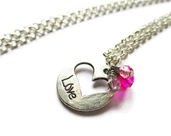 Silver Heart Necklace - Love necklace - Pink Crystal - anniversary gift - mother gift - girlfriend gift - Valentine's jewelry - gift for her