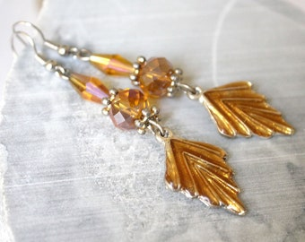 Topaz Brown earrings with charm leaf