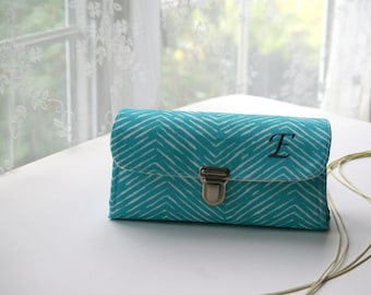 Smartphone wallet clutch - medium/ blue ocean wallet for women, monogrammed clutch, personalized electronics gift for her -  READY TO SHIP