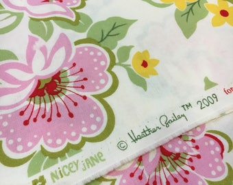 Heather Bailey 2009 Free Spirit Fabrics by Westminster. Nicey Jane Church Flowers in Pink. Remnant 14 x 45.