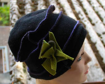 Original hat and one black with green flower 100% recycled Wool Sweater