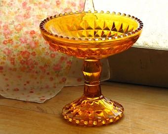 RESERVED for JASMINE  ||  Vintage Amber Glass Pedestal Dish