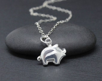 Pig necklace, 925 Sterling Silver pig charm, gift for pig lover, little piglet necklace, silver necklace, gift for her