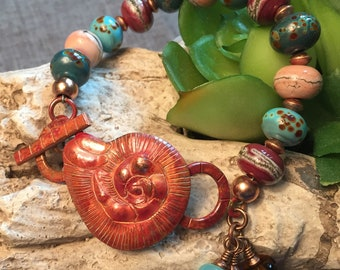 COPPER OCEAN; artisan lampwork and copper bracelet