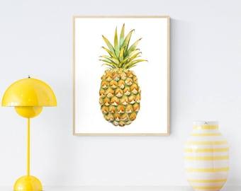 Watercolour pineapple print, printable wall art, kitchen decor, fruit print