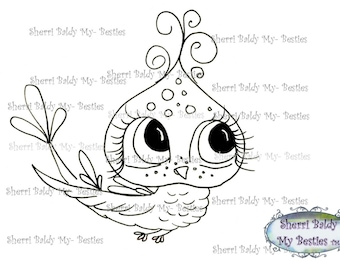 INSTANT DOWNLOAD Digital Digi Stamps Big Eyed Squeek  Besties Big Head Dolls Digi By Sherri Baldy