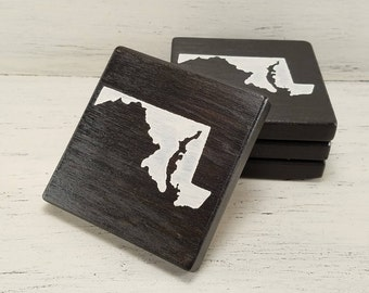 Any State, Pick Colors, Custom Wooden State Coasters, Set of 4, Wedding, Housewarming, Maryland
