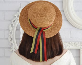 Vintage 1950s Straw Boater-Style Hat with Ribbon by Bill Atkinson