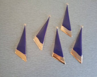 2 beautiful blue and gold enamel pendants