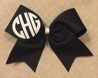 Solid Cheer bow with glitter circle initials on loop