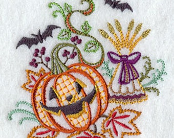Embroidered Pumpkin Towel - Embroidered Halloween Towel - Flour Sack Towel - Hand Towel - Embroidered Bath Towel - Apron-Fingertip Towel