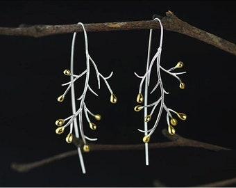 Sterling silver tree branch earrings, Twig earrings,branch earrings,Autumn earrings