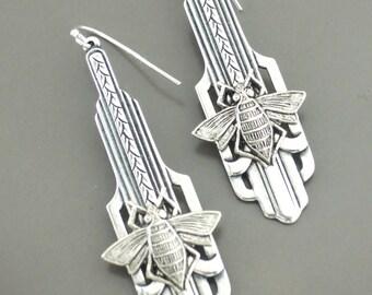 Vintage Jewelry - Art Deco Earrings - Honey Bee Earrings-  Silver Earrings - Bee Jewelry - Chloes Vintage Jewelry - handmade jewelry