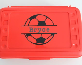Sports Pencil Box, Personalized Plastic Kids Pencil Box, Craft Box, Pencil Case, Back to School, Vinyl Pencil Box