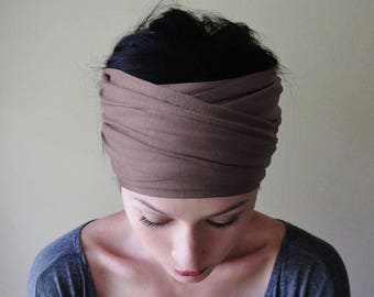 TAUPE Headband - Extra Wide Yoga Headband - Brown Gray Jersey Head Scarf - Dark Taupe Headband for Women - Bohemian Hair Accessories