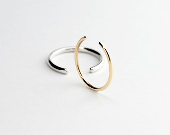 Essential - gold ring - yellow gold open band ring - minimalist wedding band