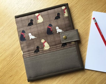 Notepad Cover A5, Dog Notebook cover, A5 Notepad Holder, Fabric Book Cover, Organizer, Sketch pad cover, Journal Cover, Dog Lover present