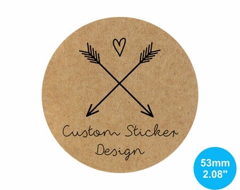Kraft Stickers - 53mm Circle (2.08 inches) - Custom Sticker Labels, Personalized Product Labels, Wedding Stickers, Gift Labels