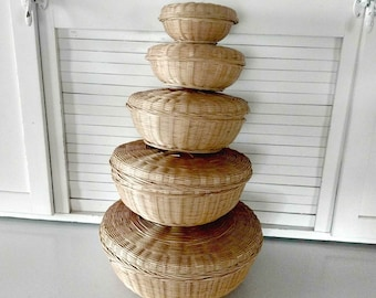 Vintage Wicker Nesting Baskets with Lids Lidded Baskets Set of Five Sewing Craft Room Storage Rattan Boho Style Bohemian Asian Home Decor